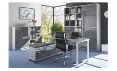 Bürokombination SET+ Arbeitszimmer 4-tlg Platingrau Grauglas