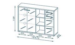 Büroset Arbeitszimmer Bürokombination Set+ Komplettset 4-tlg Platingrau Grauglas