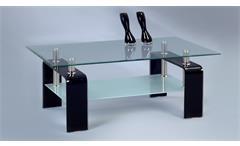 Couchtisch Caruso Wohnzimmer Glastisch Beistelltisch klar schwarz mit Ablage