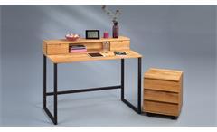 Schreibtisch Set Kevin Bernd Büro Sekretär Tisch Rollcontainer Wildeiche massiv