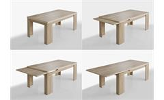 Tischgruppe Big Zip Esszimmer Tisch Bank Hocker in Eiche sägerau 180-280 cm