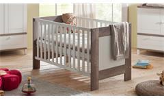 Babybett Bella Kinderbett Gitterbett Babyzimmer in Wildeiche Trüffel und weiß