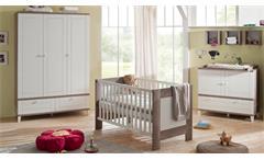 Babyzimmer Bella Babymöbel Set Babybett Wickelkommode Schrank Wildeiche und weiß