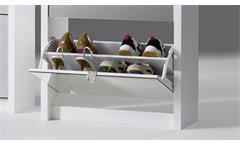 Schuhkipper Big Schuhschrank weiß matt Front Spiegel mit 4 Klappen für 24 Paar