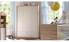 Kleiderschrank Sven Schrank Kinder Babyzimmer Edelbuche weiß lackiert 3-türig