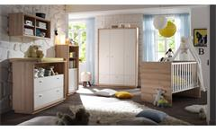 Babyzimmer Sven 5-tlg. Set Baby Kinderzimmer Erstausstattung Edelbuche weiß Lack