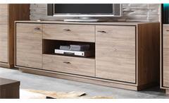 TV-Lowboard Salinas Stirling Eiche schwarz Wohnzimmer Schrank Kommode 179 cm