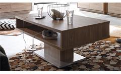 Couchtisch Salinas Stirling Eiche Silber Wohnzimmer Tisch mit Fach 110x60 cm