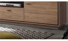 Anbauwand 2 Salinas Stirling Eiche schwarz Wohnzimmer Wohnwand TV Set 4-teilig