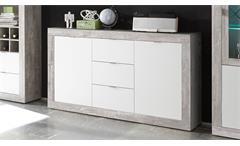 Sideboard Jump Beton Dekor & weiß lackiert Wohnzimmer Kommode Anrichte 2-türig