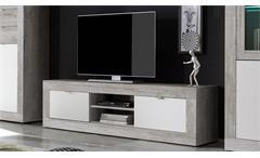 Lowboard Jump Beton Dekor & weiß lackiert Wohnzimmer Schrank TV Kommode 162 cm