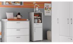 Beistellschrank Babyzimmer Frieda Highboard Regal Vintage wood grey weiß matt lack