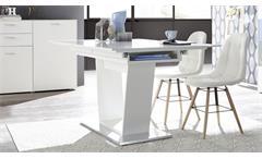 Esstisch Micelli weiß matt lack edelstahloptik Esszimmer Tisch Synchron-Auszug