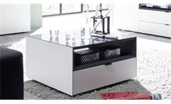 Couchtisch Micelli Tisch mit Schubkasten in weiß matt lack anthrazit matt lack Wohnzimmer