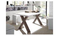 Esstisch Mister X Tischsystem rost weiß Lack inkl. Synchronauszug 160-210x90 cm