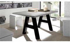 Esstisch The Big Tischsystem Esszimmertisch in Beton und Schwarzstahl 140x90 cm