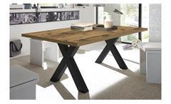 Esstisch The Big Tischsystem Esszimmertisch Plankeneiche Schwarzstahl 200x100 cm