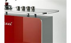 Theke Cool Bartheke Bartisch Barmöbel in rot Hochglanz matt silber mit Milchglas