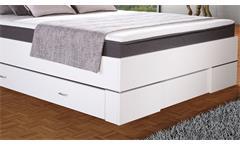 Boxbett Globe Boxspringbett Bett Schlafzimmer weiß Glanz und anthrazit 140x200