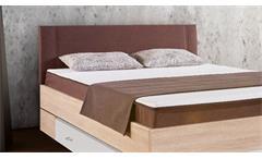 Boxbett Globe Bett Bettgestell in Sonoma Eiche und braun mit Topper 140x200 cm