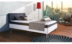 Boxbett Antox Bett in weiß Glanz und anthrazit mit Bonell-Federkern 140x200 cm