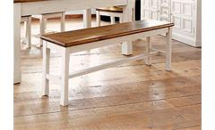 Sitzbank BODDE Kiefer massiv weiß und Honig