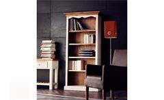 Regal BODDE Bücherregal in Kiefer massiv weiß und Honig