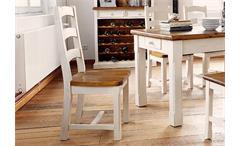 Stuhl Landhaus Bodde in Kiefer massiv weiß und Absetzung in Honig