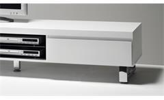 Lowboard Sydney TV-Board Unterteil in weiß Hochglanz lackiert mit 2 Schubkästen