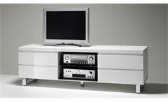 Lowboard Sydney TV-Board Unterteil in weiß Hochglanz lackiert mit 4 Schubkästen