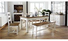 Tischgruppe Essgruppe 6-tlg Bodde Kiefer Massivholz vintage used Look Landhaus