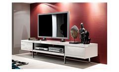 TV-Board weiß Hochglanz Brisbane Lowboard lackiert Wohnzimmer Kommode 198 cm