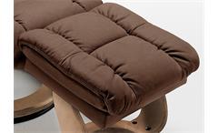 Relaxsessel Calgary 1 Relaxchair Sessel in Echtleder braun Gestell natur