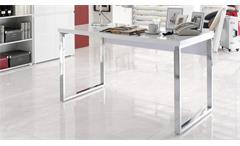 Schreibtisch SYDNEY Bürotisch in weiß Hochglanz lackiert 140x70 cm