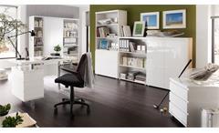 Büroschrank Sydney Hochglanz weiß lackiert Aktenschrank Home Office