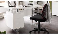 Schreibtisch Sydney Bürotisch in weiß Hochglanz lackiert mit 3 Schubkästen