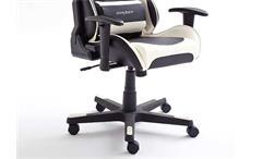 Schreibtischstuhl DX RACER 6 Bürostuhl Game Chair in Lederlook schwarz weiß