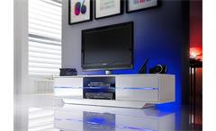 TV-Board BLUES Weiß Hochglanz - Inkl RGB-Beleuchtung