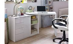 Schreibtisch VIVOR mit Regal-Schrank Weiß Hochglanz Lack