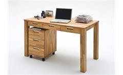 Schreibtisch Cento Büro Computertisch Tisch Asteiche Massiv geölt 3 Schubkästen