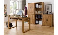 Schreibtisch Jasmin Computertisch Büro Tisch in Asteiche massiv geölt mit Ablage
