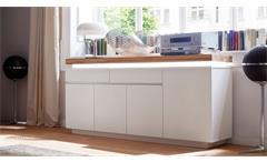 Sideboard 2 Romina Kommode Anrichte in weiß matt Lack und Eiche massiv inkl. LED