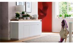 Sideboard 3 Romina Kommode Anrichte in weiß matt Lack und Eiche massiv inkl. LED