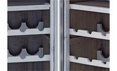 Barschrank Seoul Schrank Regal in Akazie Pinie Massivholz grau mit Alurahmen