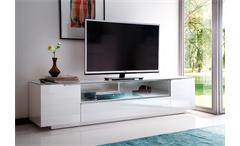 Lowboard 1 Canberra TV Board HiFi Möbel weiß Hochglanz lackiert mit Glasplatte