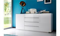 Sideboard 1 Canberra Anrichte Kommode weiß Hochglanz lackiert mit Glasplatte