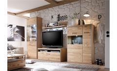 Wohnwand 1 Espero Anbauwand Wohnzimmer in Ast-Eiche Bianco teilmassiv geölt