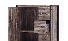 Highboard Java Kommode Schrank Maracaibo mit Metallrahmen schwarz lackiert