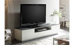 TV Board 1 Darwin Lowboard Hifi Möbel weiß matt lackiert Glas Steinoptik grau