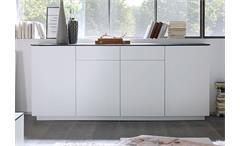 Sideboard 3 Darwin Anrichte Kommode weiß matt lackiert Glas Steinoptik grau